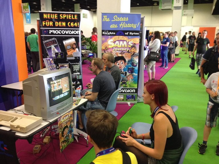 Authentic retro gaming on a 4:3 CRT television set at the stand of Protovision (photo by Protovision)